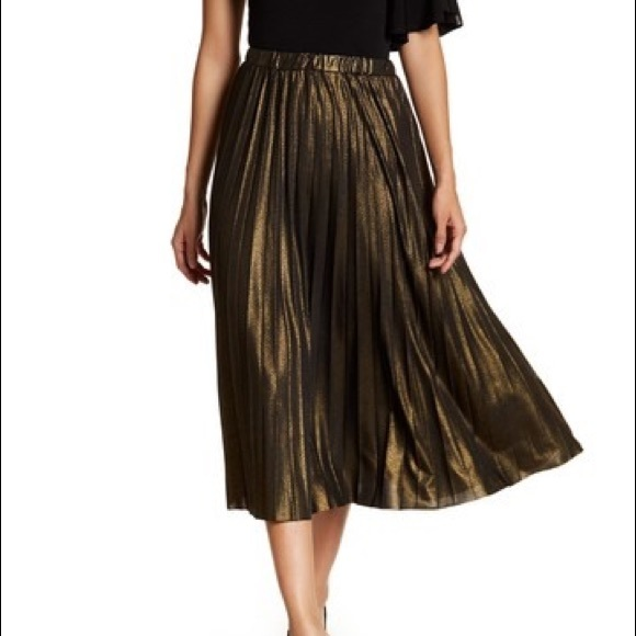738be2aa7b657e Abound Skirts | Long Gold Pleated Skirt | Poshmark